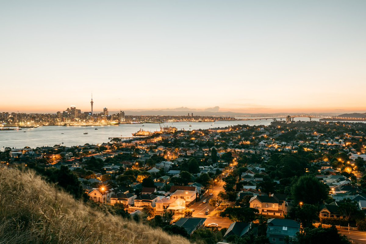 View over Devonport towards Auckland City at sunset