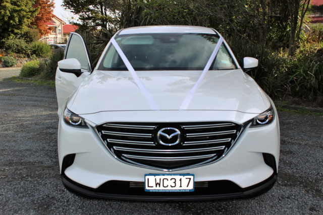 white wedding car mazda cx-9