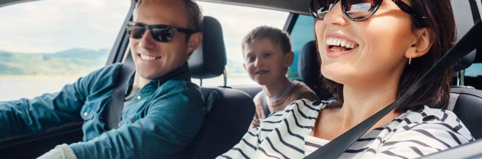 happy family ride in car