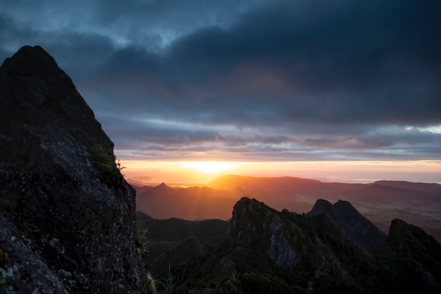 sunrise view from the pinnacles in the coromandel