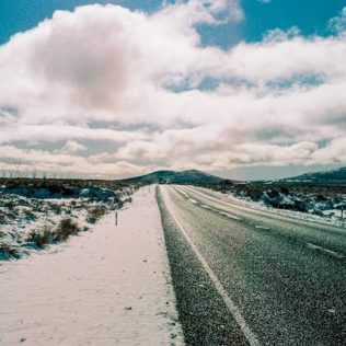 snow covered road in ruapehu