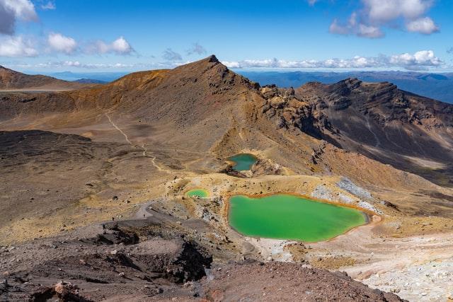 emerald green lakes on the Tongariro crossing
